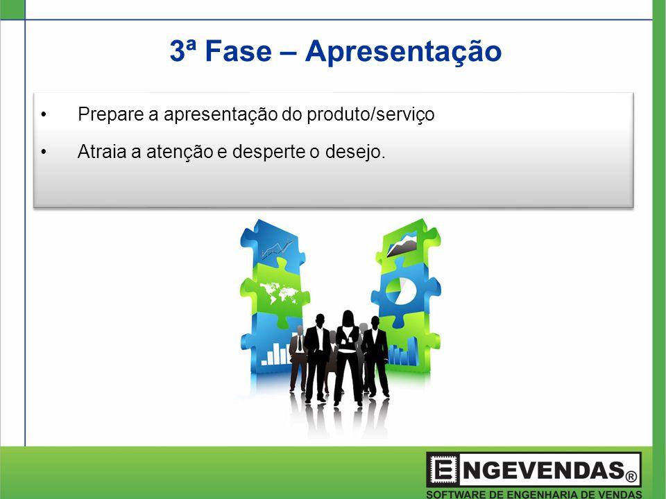 3ª Fase – Apresentação •Prepare a apresentação do produto/serviço •Atraia a atenção e desperte o desejo. •Prepare a apresentação do produto/serviço •A