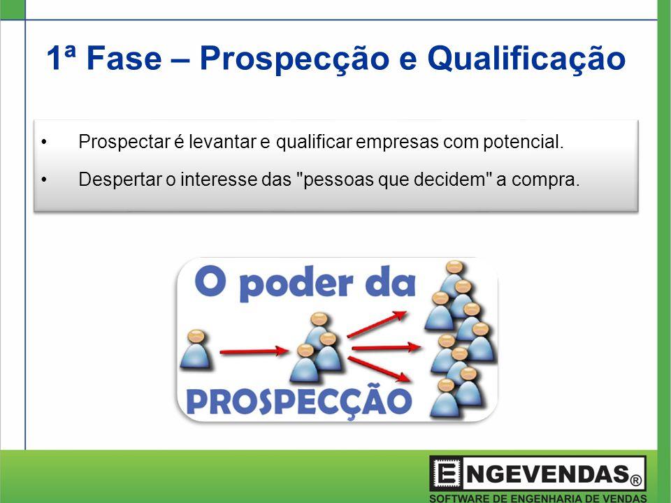1ª Fase – Prospecção e Qualificação •Prospectar é levantar e qualificar empresas com potencial. •Despertar o interesse das