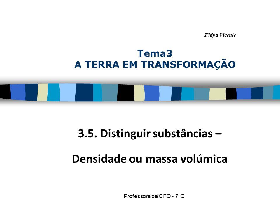 Filipa Vicente Professora de CFQ - 7ºC Tema3 A TERRA EM TRANSFORMAÇÃO 3.5. Distinguir substâncias – Densidade ou massa volúmica