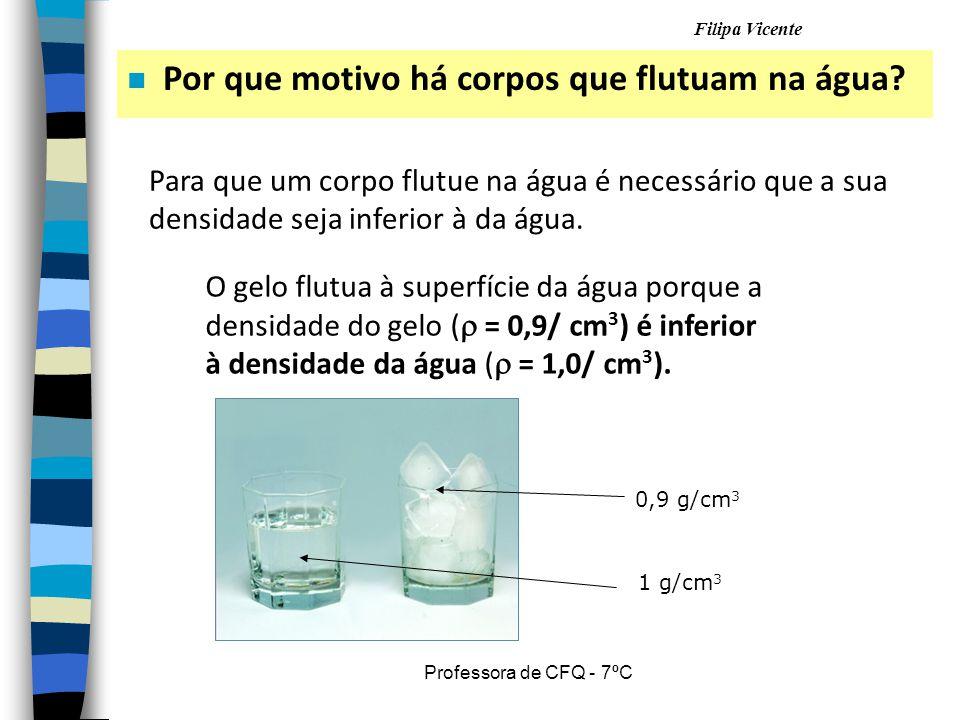 Filipa Vicente Professora de CFQ - 7ºC n Por que motivo há corpos que flutuam na água? Para que um corpo flutue na água é necessário que a sua densida
