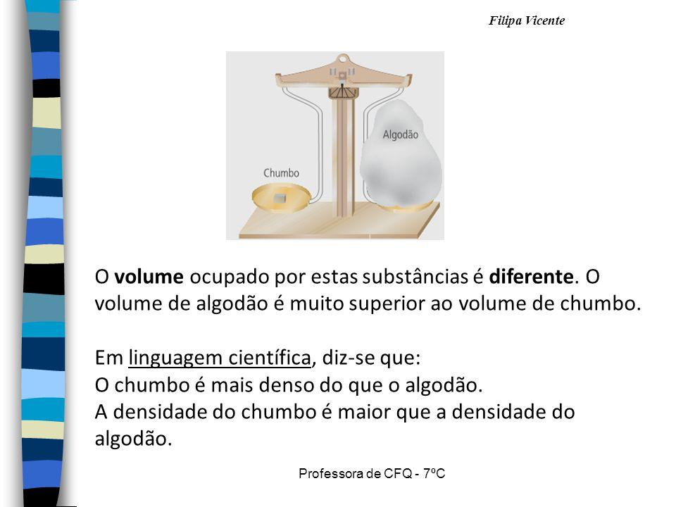 Filipa Vicente Professora de CFQ - 7ºC O volume ocupado por estas substâncias é diferente. O volume de algodão é muito superior ao volume de chumbo. E