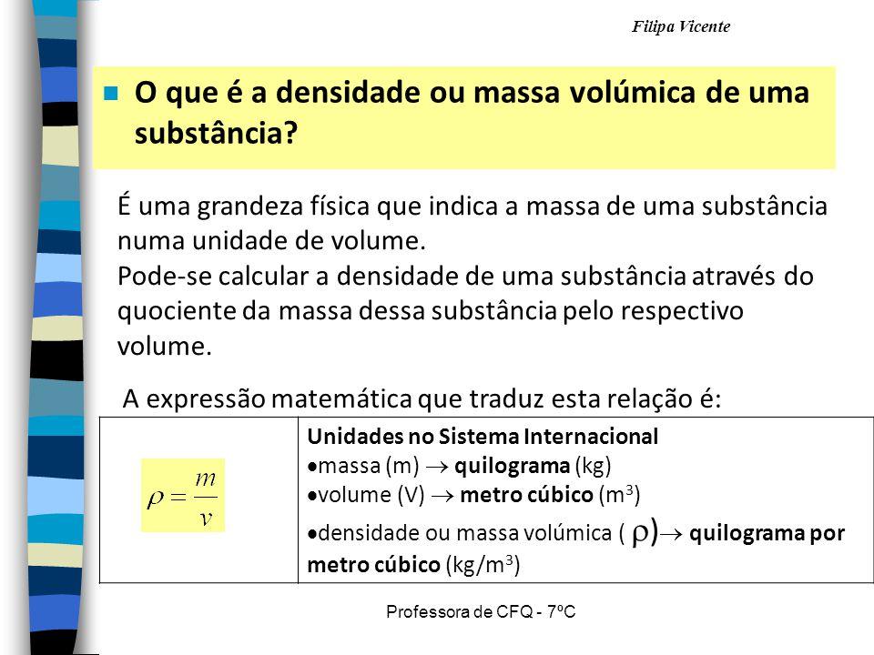 Filipa Vicente Professora de CFQ - 7ºC n O que é a densidade ou massa volúmica de uma substância? É uma grandeza física que indica a massa de uma subs