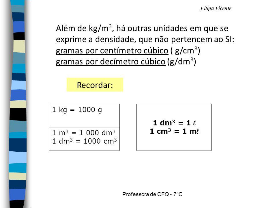 Filipa Vicente Professora de CFQ - 7ºC Além de kg/m 3, há outras unidades em que se exprime a densidade, que não pertencem ao SI: gramas por centímetr