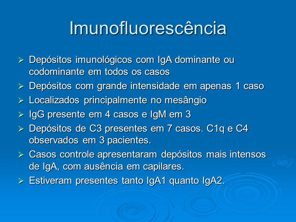 Imunofluorescência  Depósitos imunológicos com IgA dominante ou codominante em todos os casos  Depósitos com grande intensidade em apenas 1 caso  Localizados principalmente no mesângio  IgG presente em 4 casos e IgM em 3  Depósitos de C3 presentes em 7 casos.