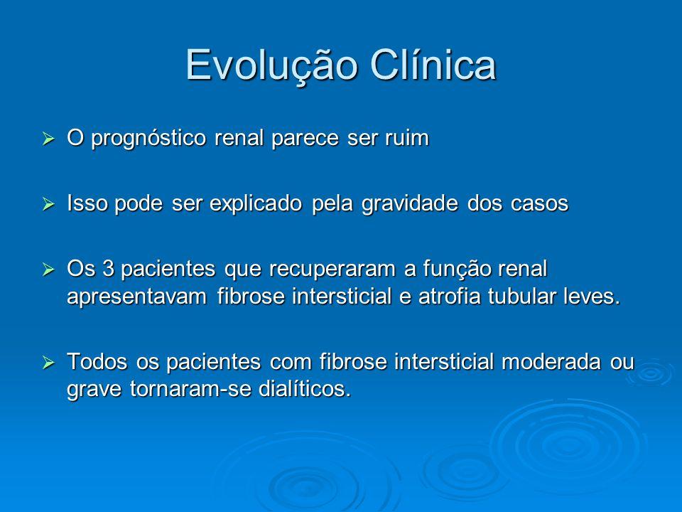 Evolução Clínica  O prognóstico renal parece ser ruim  Isso pode ser explicado pela gravidade dos casos  Os 3 pacientes que recuperaram a função renal apresentavam fibrose intersticial e atrofia tubular leves.