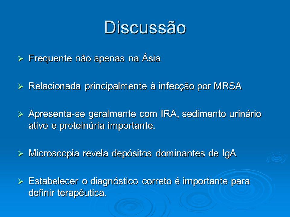 Discussão  Frequente não apenas na Ásia  Relacionada principalmente à infecção por MRSA  Apresenta-se geralmente com IRA, sedimento urinário ativo e proteinúria importante.