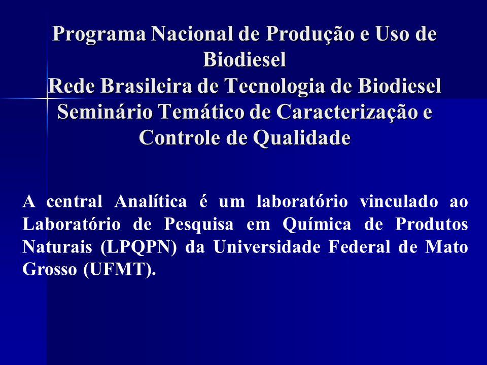 Programa Nacional de Produção e Uso de Biodiesel Rede Brasileira de Tecnologia de Biodiesel Seminário Temático de Caracterização e Controle de Qualida