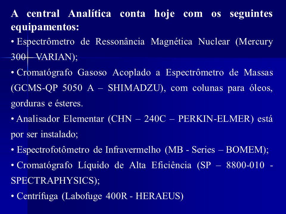 A central Analítica conta hoje com os seguintes equipamentos: • Espectrômetro de Ressonância Magnética Nuclear (Mercury 300 – VARIAN); • Cromatógrafo