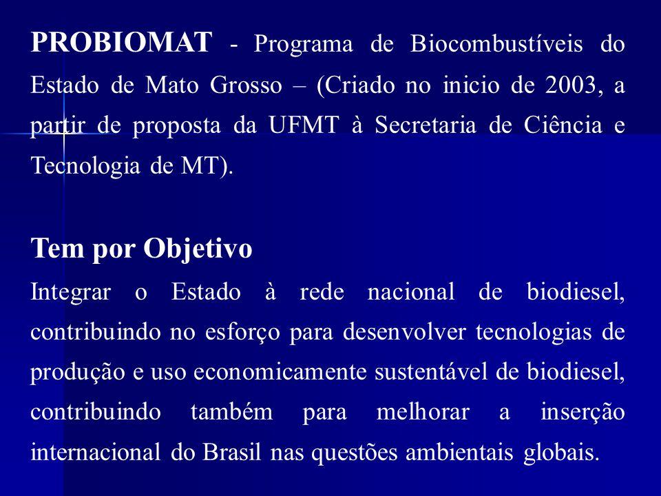 PROBIOMAT - Programa de Biocombustíveis do Estado de Mato Grosso – (Criado no inicio de 2003, a partir de proposta da UFMT à Secretaria de Ciência e T