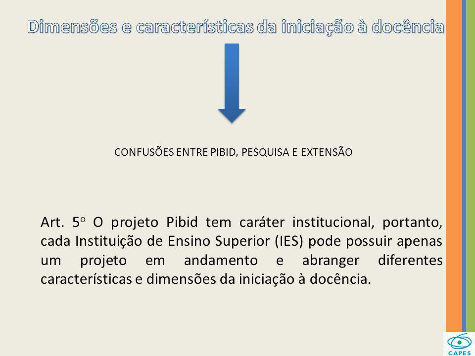 CONFUSÕES ENTRE PIBID, PESQUISA E EXTENSÃO Art. 5 o O projeto Pibid tem caráter institucional, portanto, cada Instituição de Ensino Superior (IES) pod