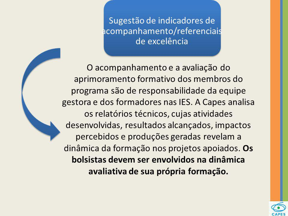 Sugestão de indicadores de acompanhamento/referenciais de excelência O acompanhamento e a avaliação do aprimoramento formativo dos membros do programa