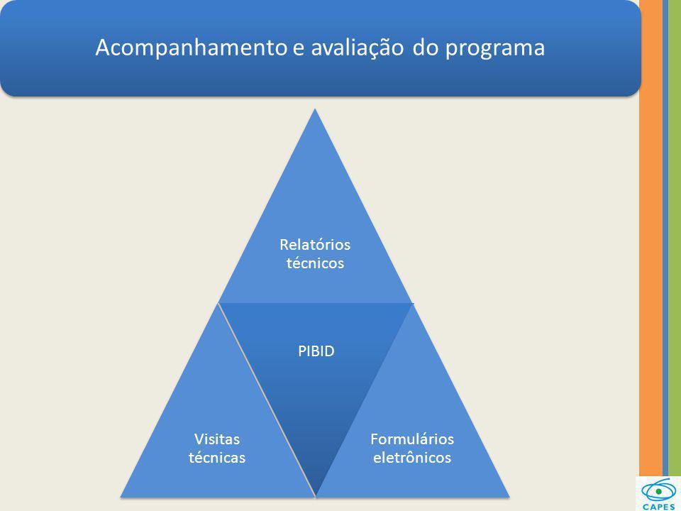 Acompanhamento e avaliação do programa Relatórios técnicos Visitas técnicas PIBID Formulários eletrônicos