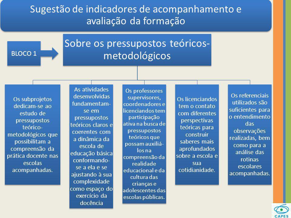 Sugestão de indicadores de acompanhamento e avaliação da formação Sobre os pressupostos teóricos- metodológicos Os subprojetos dedicam-se ao estudo de