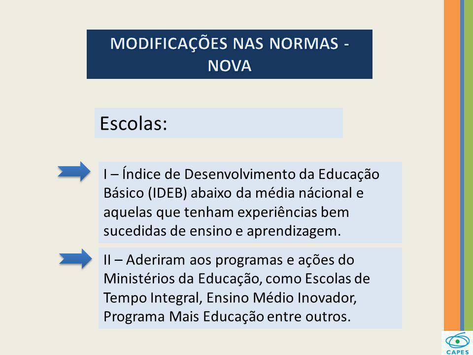 Escolas: II – Aderiram aos programas e ações do Ministérios da Educação, como Escolas de Tempo Integral, Ensino Médio Inovador, Programa Mais Educação