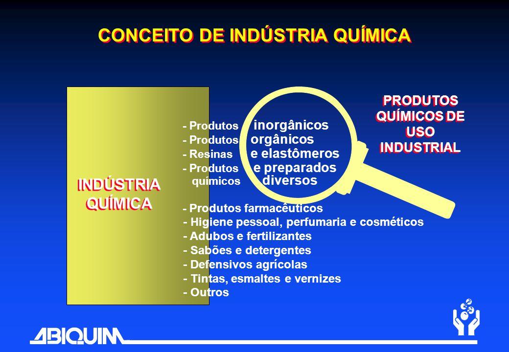 CONCEITO DE INDÚSTRIA QUÍMICA - Produtos inorgânicos - Produtos orgânicos - Resinas e elastômeros - Produtos e preparados químicos diversos - Produtos