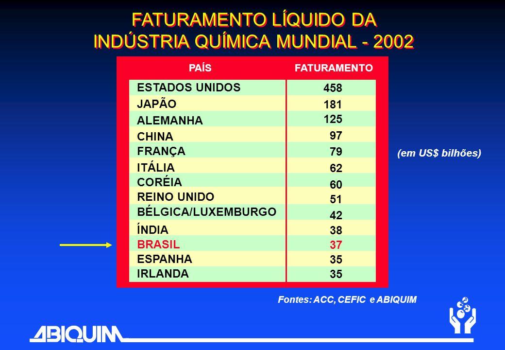 PAÍSFATURAMENTO (em US$ bilhões) Fontes: ACC, CEFIC e ABIQUIM FATURAMENTO LÍQUIDO DA INDÚSTRIA QUÍMICA MUNDIAL - 2002 ESTADOS UNIDOS JAPÃO ALEMANHA CH