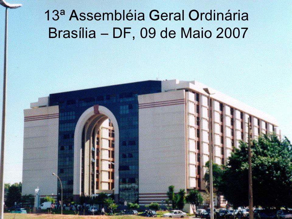 Brasília DF,09 de Maio de 2007 13ªAGO 13ª A ssembléia G eral O rdinária 12 de 34 Inadimplências recebidas no Departamento Jurídico
