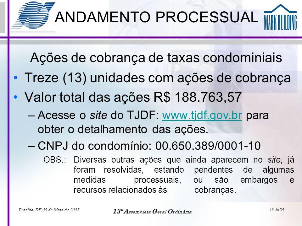 Brasília DF,09 de Maio de 2007 13ªAGO 13ª A ssembléia G eral O rdinária 13 de 34 ANDAMENTO PROCESSUAL •Treze (13) unidades com ações de cobrança •Valo