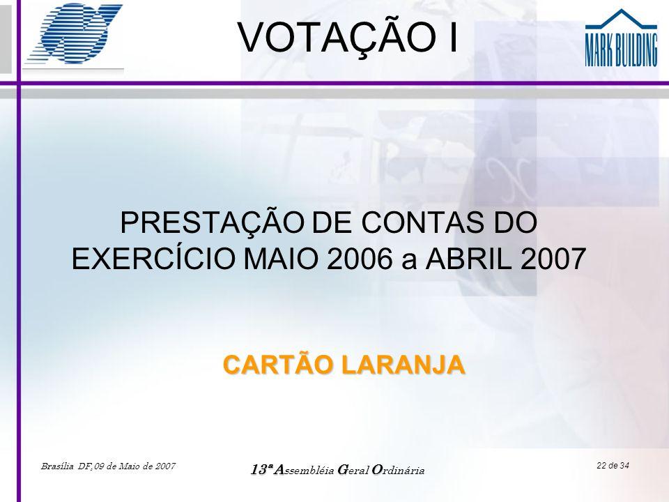 Brasília DF,09 de Maio de 2007 13ªAGO 13ª A ssembléia G eral O rdinária 22 de 34 VOTAÇÃO I PRESTAÇÃO DE CONTAS DO EXERCÍCIO MAIO 2006 a ABRIL 2007 CAR