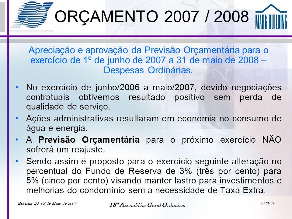 Brasília DF,09 de Maio de 2007 13ªAGO 13ª A ssembléia G eral O rdinária 23 de 34 ORÇAMENTO 2007 / 2008 •No exercício de junho/2006 a maio/2007, devido