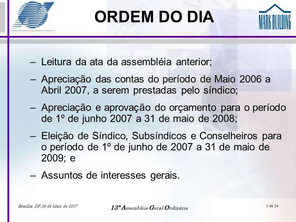 Brasília DF,09 de Maio de 2007 13ªAGO 13ª A ssembléia G eral O rdinária 14 de 34 Informações Relevantes •ORÇAMENTOS –Os orçamentos anuais foram rigorosamente obedecidos, resultando na possibilidade de investimentos de grande vulto sem a necessidade de instituir Taxa Extra.