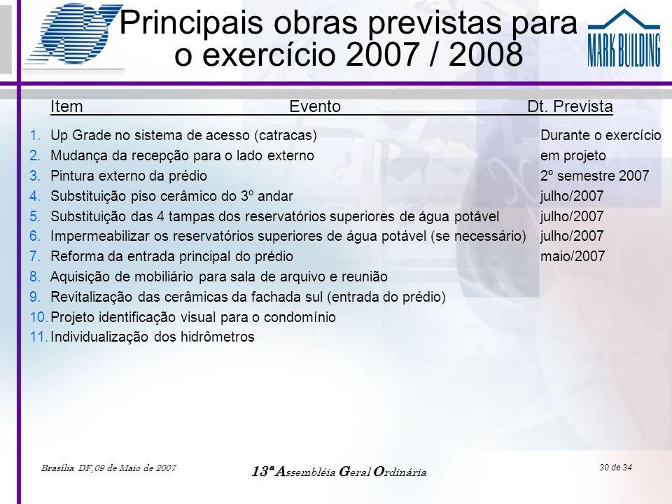 Brasília DF,09 de Maio de 2007 13ªAGO 13ª A ssembléia G eral O rdinária 30 de 34 Principais obras previstas para o exercício 2007 / 2008 1.Up Grade no