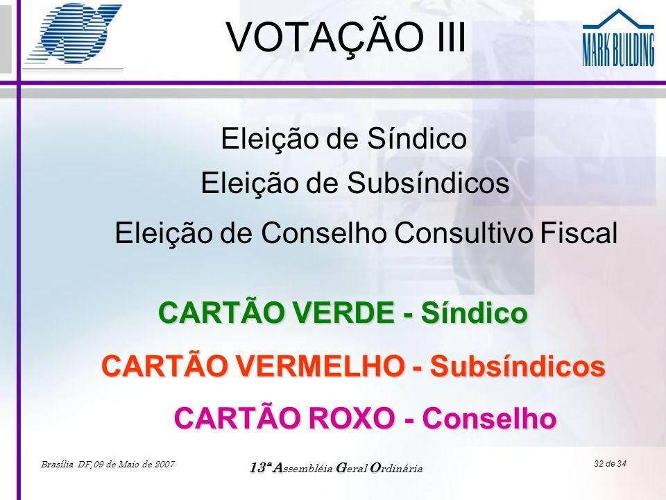 Brasília DF,09 de Maio de 2007 13ªAGO 13ª A ssembléia G eral O rdinária 32 de 34 VOTAÇÃO III Eleição de Síndico CARTÃO VERDE - Síndico Eleição de Subs