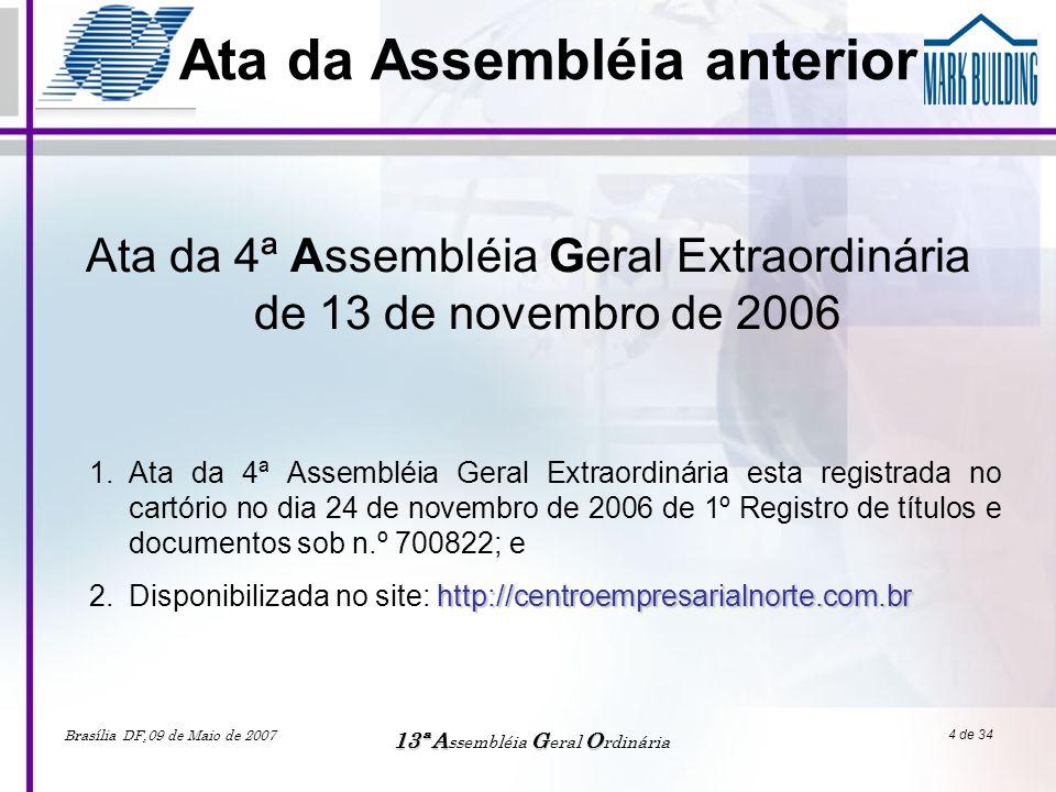 Brasília DF,09 de Maio de 2007 13ªAGO 13ª A ssembléia G eral O rdinária 5 de 34 Apreciação e deliberação das contas Apreciação e deliberação da sobre as contas do período de Maio 2006 a Abril 2007 Prestação de contas 1.Orçamento econômico e financeiro; 2.Orçamentos aprovados em assembléia; 3.Principais reajustes; 4.Saldos bancários; 5.Inadimplência; 6.Processos judiciais; 7.Consumo; 8.Principais realizações no exercício.
