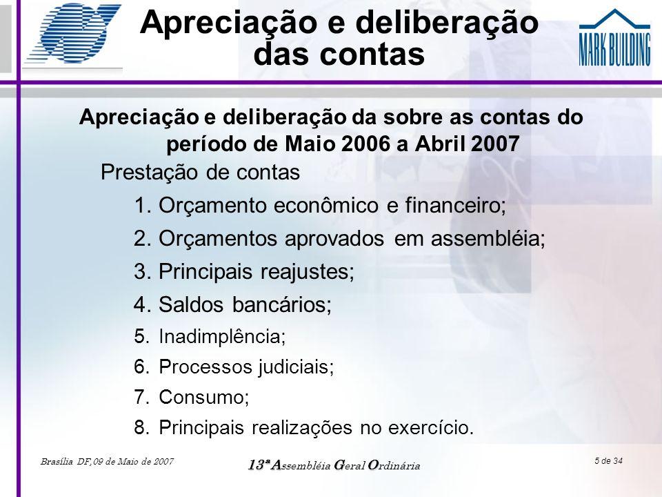 Brasília DF,09 de Maio de 2007 13ªAGO 13ª A ssembléia G eral O rdinária 6 de 34 ORÇAMENTO ECONÔMICO FINANCEIRO Realizado Jun2005 a Abr2006 Previsto Jun2006 a Abr2007 Realizado Jun2006 a Abr2007 VARIAÇÃO Realizado 2005/ 2006 a 2006/ 2007 VARIAÇÃO Previsto/ Realizado 2006/ 2007 Manutenção142.594,53168.410,00154892,908,62%-8,03% Operação/ Conservação801.303,68866.900,87838696,834,67%-3,25% Administração343477,30355.954,07350523,372,05%-1,53% Consumo679.254,84448.188,00650328,12-4,26%45,10%