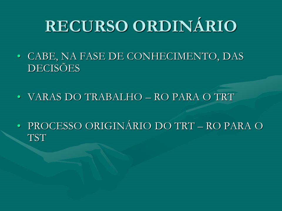 RECURSO ORDINÁRIO •CABE, NA FASE DE CONHECIMENTO, DAS DECISÕES •VARAS DO TRABALHO – RO PARA O TRT •PROCESSO ORIGINÁRIO DO TRT – RO PARA O TST