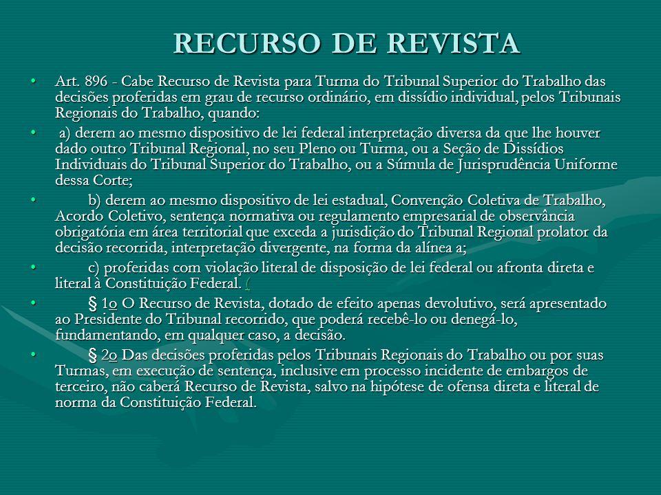 RECURSO DE REVISTA •Art. 896 - Cabe Recurso de Revista para Turma do Tribunal Superior do Trabalho das decisões proferidas em grau de recurso ordinári