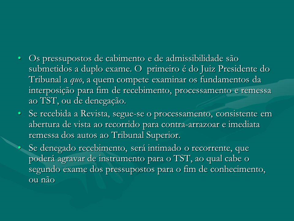 •Os pressupostos de cabimento e de admissibilidade são submetidos a duplo exame. O primeiro é do Juiz Presidente do Tribunal a quo, a quem compete exa