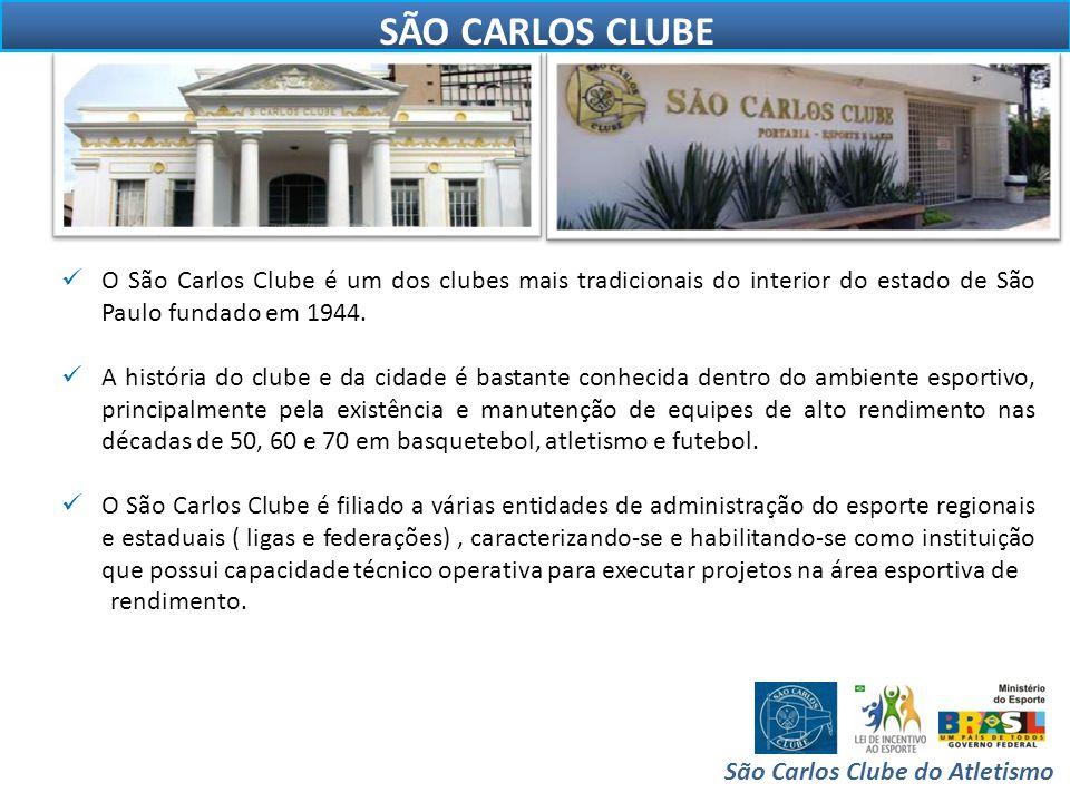 OBJETIVOS DO PROJETO São Carlos Clube do Atletismo  O projeto visa dar oportunidades a adolescentes e adultos associados e militantes do São Carlos Clube a receberem treinamento especializado de atletismo, voltado ao rendimento.