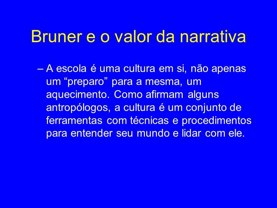 Bruner e o valor da narrativa –A escola é uma cultura em si, não apenas um preparo para a mesma, um aquecimento.