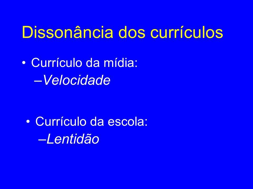 Dissonância dos currículos •Currículo da mídia: –Velocidade •C•Currículo da escola: –L–Lentidão