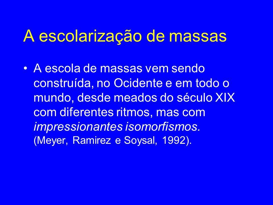 A escolarização de massas •A escola de massas vem sendo construída, no Ocidente e em todo o mundo, desde meados do século XIX com diferentes ritmos, mas com impressionantes isomorfismos.