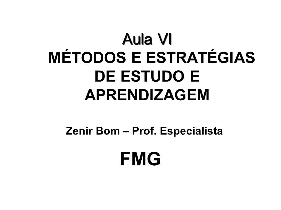 Aula VI Aula VI MÉTODOS E ESTRATÉGIAS DE ESTUDO E APRENDIZAGEM FMG Zenir Bom – Prof. Especialista