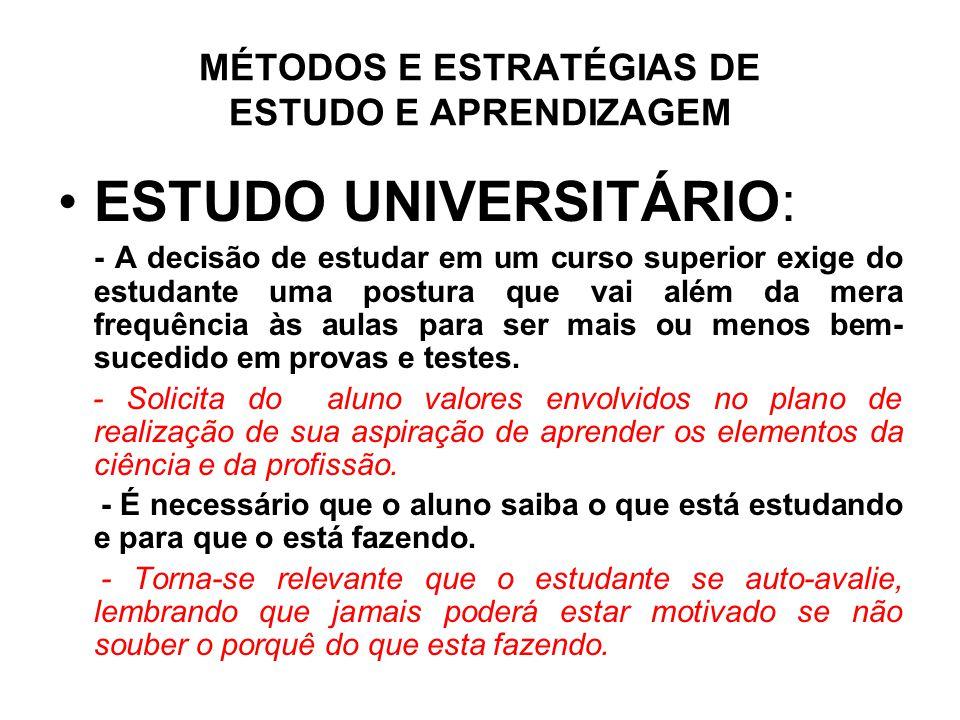 MÉTODOS E ESTRATÉGIAS DE ESTUDO E APRENDIZAGEM •ESTUDO UNIVERSITÁRIO: - A decisão de estudar em um curso superior exige do estudante uma postura que v