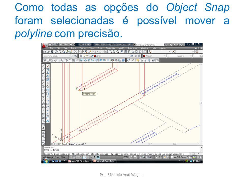 Como todas as opções do Object Snap foram selecionadas é possível mover a polyline com precisão.
