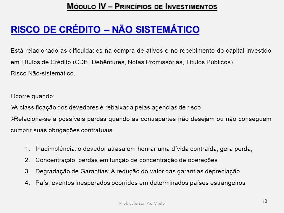 M ÓDULO IV – P RINCÍPIOS DE I NVESTIMENTOS RISCO DE CRÉDITO – NÃO SISTEMÁTICO Está relacionado as dificuldades na compra de ativos e no recebimento do