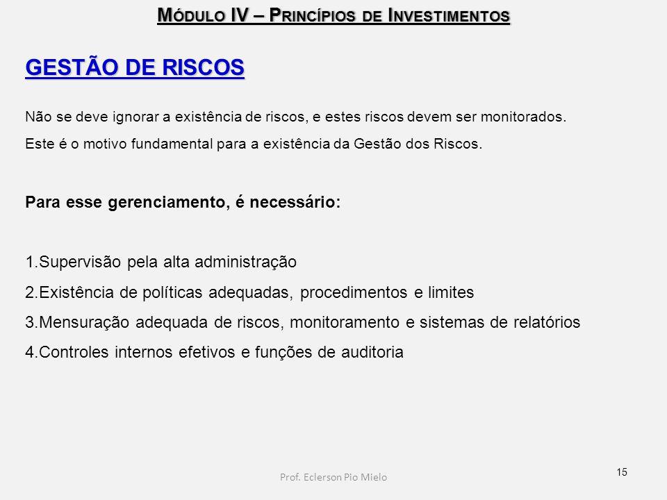 M ÓDULO IV – P RINCÍPIOS DE I NVESTIMENTOS GESTÃO DE RISCOS Não se deve ignorar a existência de riscos, e estes riscos devem ser monitorados. Este é o