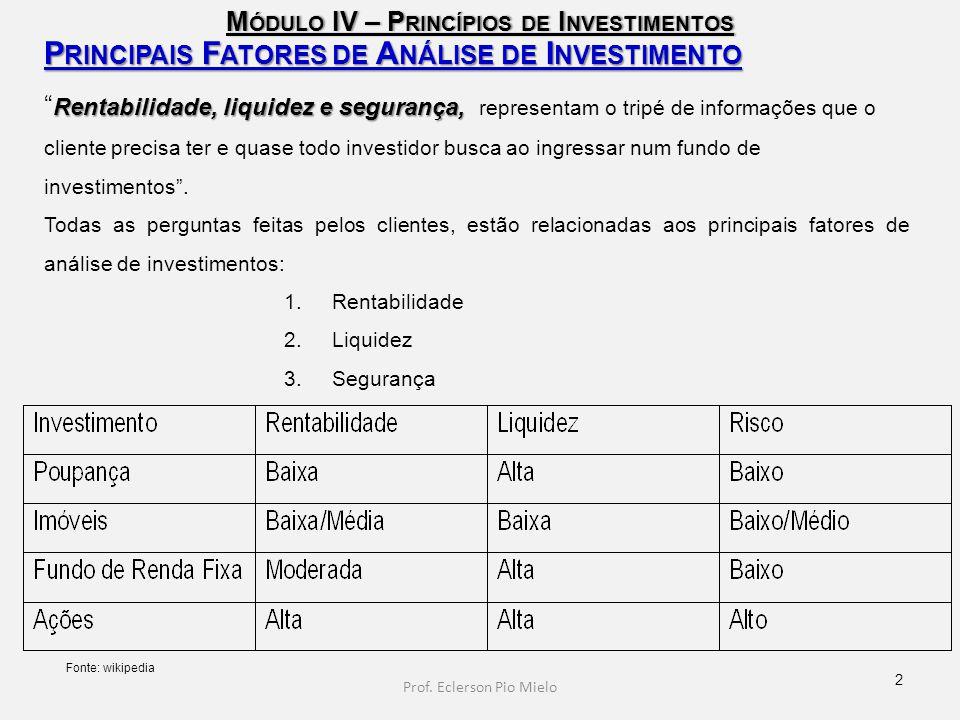 """M ÓDULO IV – P RINCÍPIOS DE I NVESTIMENTOS P RINCIPAIS F ATORES DE A NÁLISE DE I NVESTIMENTO Rentabilidade, liquidez e segurança, """" Rentabilidade, liq"""