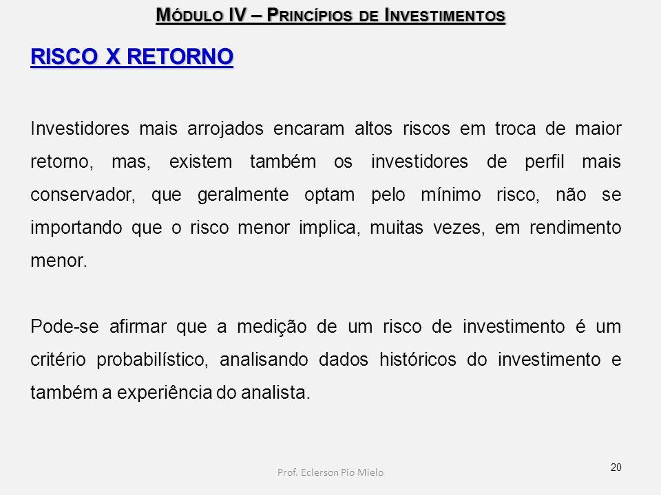 M ÓDULO IV – P RINCÍPIOS DE I NVESTIMENTOS RISCO X RETORNO Investidores mais arrojados encaram altos riscos em troca de maior retorno, mas, existem ta