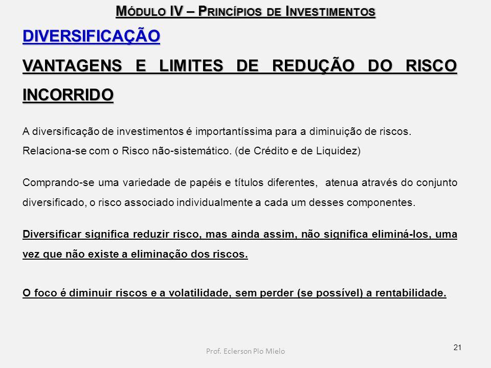 M ÓDULO IV – P RINCÍPIOS DE I NVESTIMENTOS DIVERSIFICAÇÃO VANTAGENS E LIMITES DE REDUÇÃO DO RISCO INCORRIDO A diversificação de investimentos é import