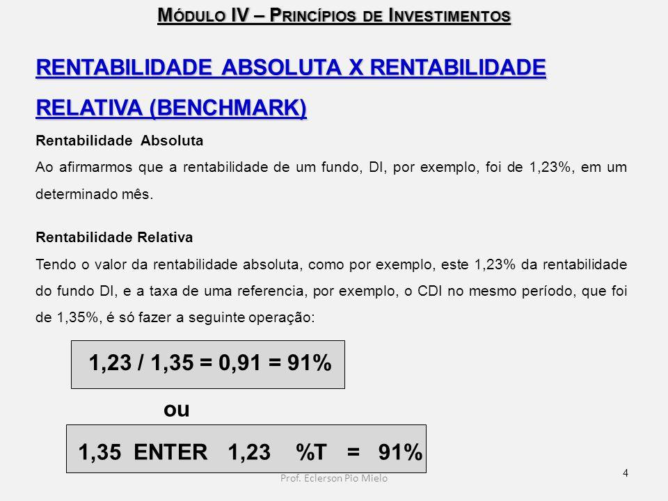 M ÓDULO IV – P RINCÍPIOS DE I NVESTIMENTOS RENTABILIDADE ABSOLUTA X RENTABILIDADE RELATIVA (BENCHMARK) Rentabilidade Absoluta Ao afirmarmos que a rent
