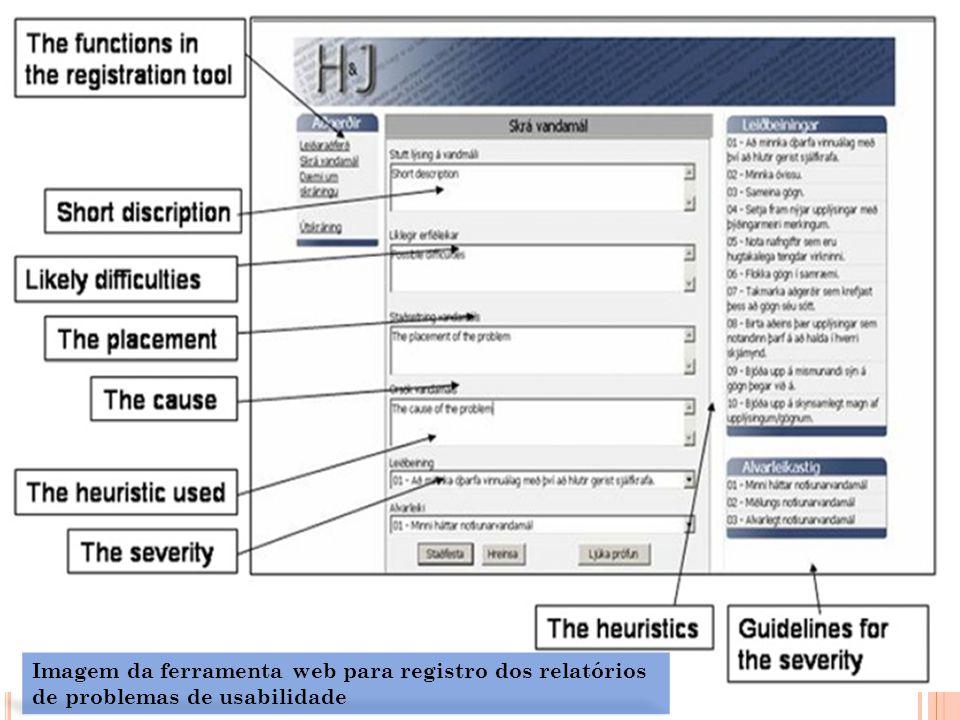 Imagem da ferramenta web para registro dos relatórios de problemas de usabilidade