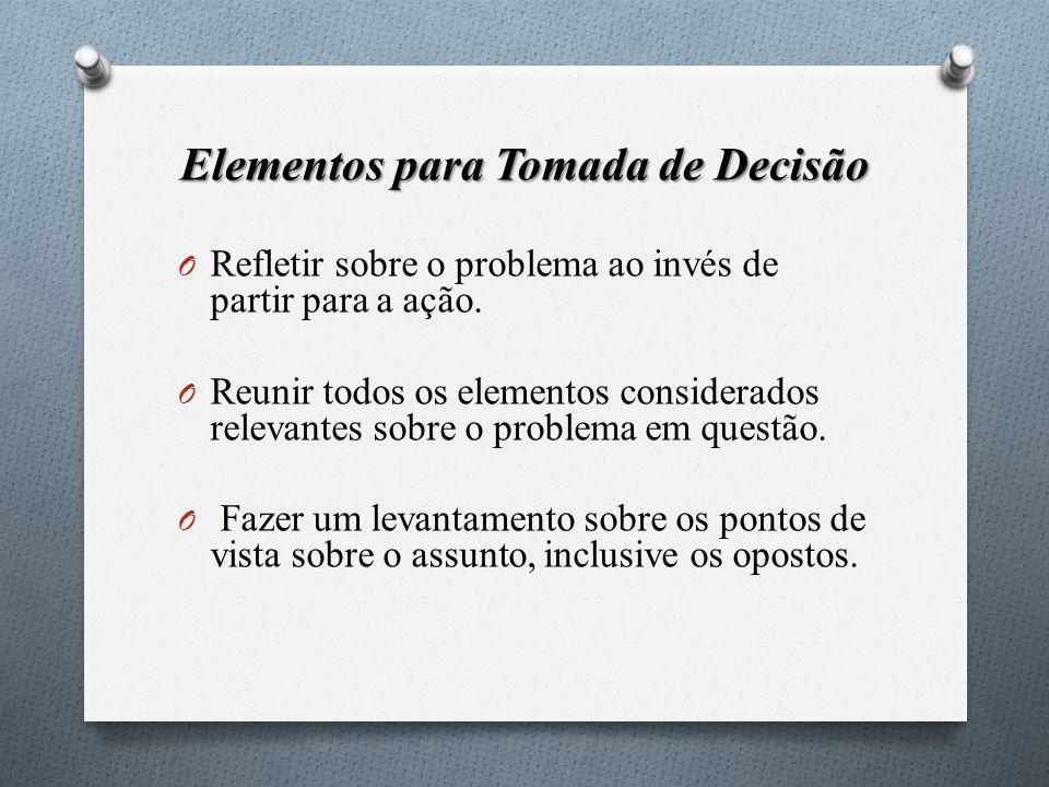 Elementos para Tomada de Decisão O Refletir sobre o problema ao invés de partir para a ação. O Reunir todos os elementos considerados relevantes sobre