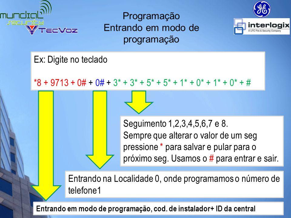 Teclado NX-1508E Entrando em modo de programação Quando está em modo de programação e a central solicitará o ID do Device a ser programado.
