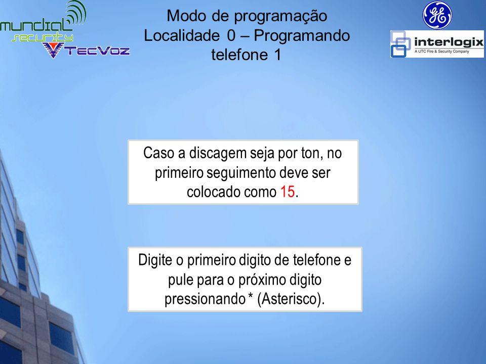 Exemplo: *8+9713+0#0#15*5*6*4*1*1*6*1*8*# Modo de programação Localidade 0 – Programando telefone 1 Telefone 1: Discagem por ton para 56411618