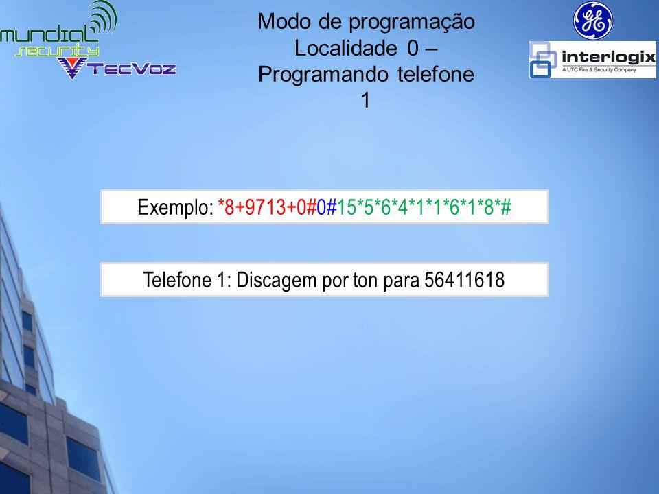 Modo de programação Localidade 1 – Programando a conta para telefone 1 Conta para Telefone 1: 2530 *8+9713+0#1#2*5*3*0*#